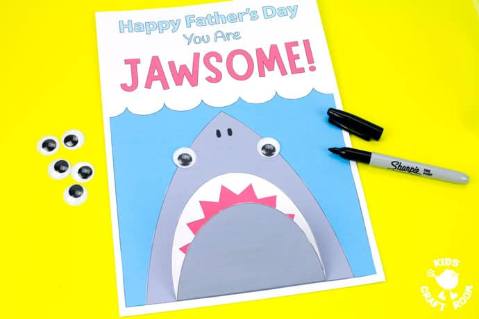 Shark Father's Day Card on a yellow table top. Step 8.