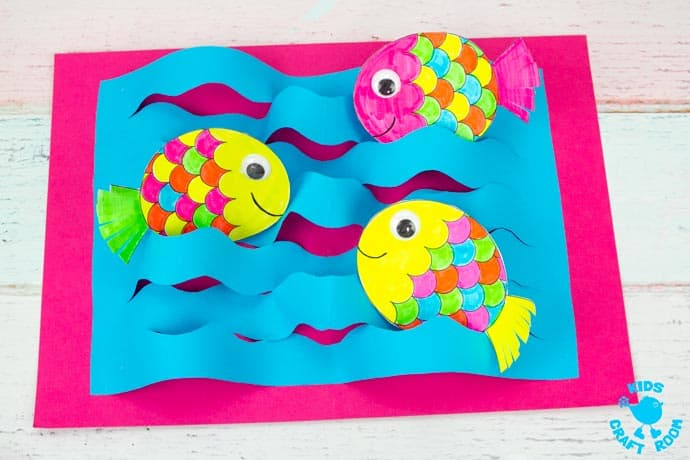Swimming Fish Craft step 10.