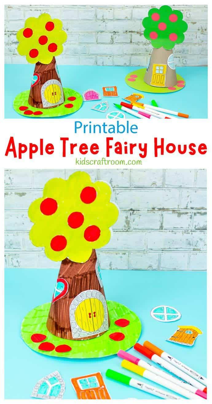 Apple Tree Fairy House Craft pin image 1.