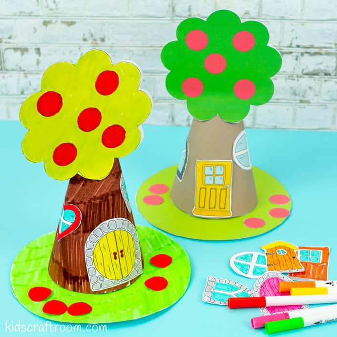 Apple Tree Fairy House Craft square image.