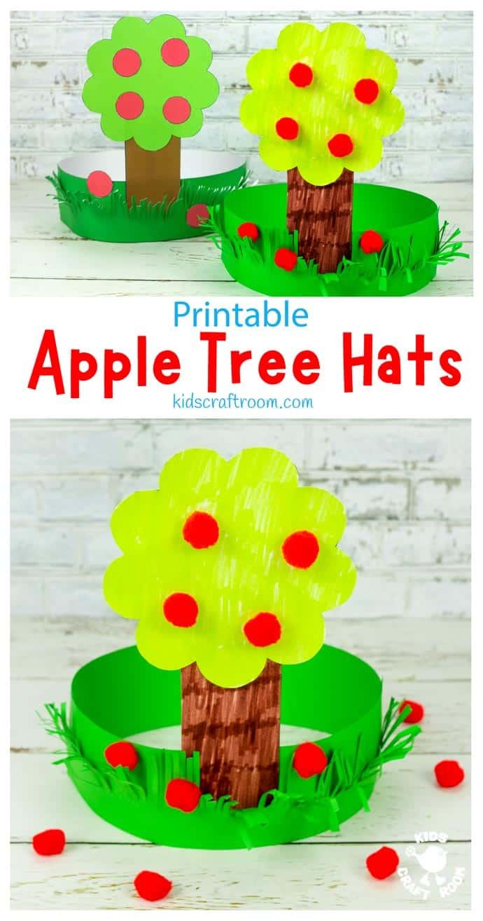 Apple Tree Hat Craft pin image.
