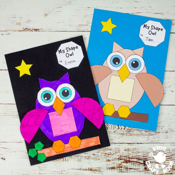 Two Shape Owl Crafts on a wooden table top.