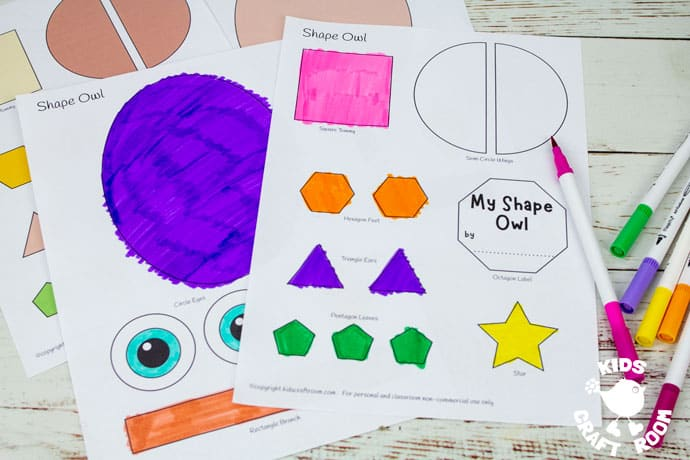 Shape Owl Craft Template being coloured in.