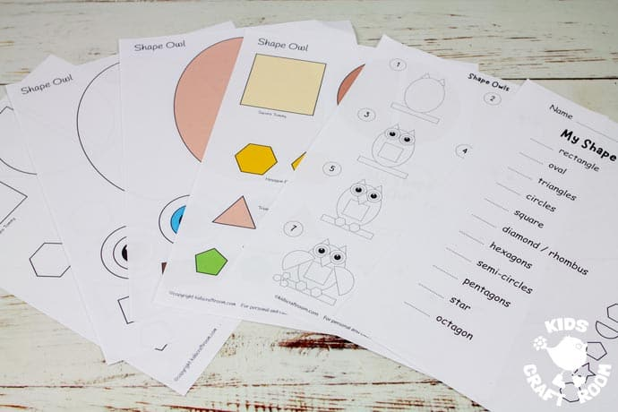 Shape Owl Craft Templates fanned on a table top.