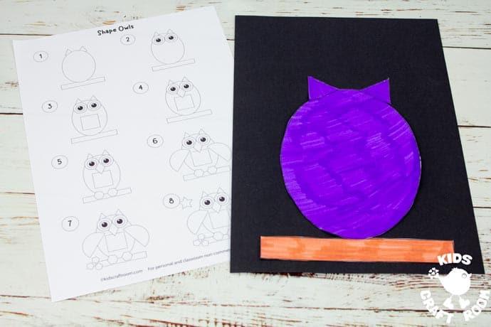 Shape Owl Craft step 4.