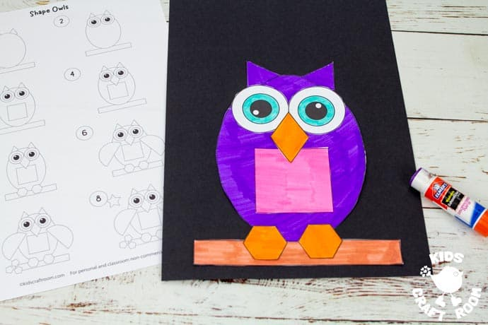 Shape Owl Craft step 5.
