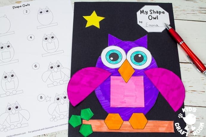 Shape Owl Craft step 6.