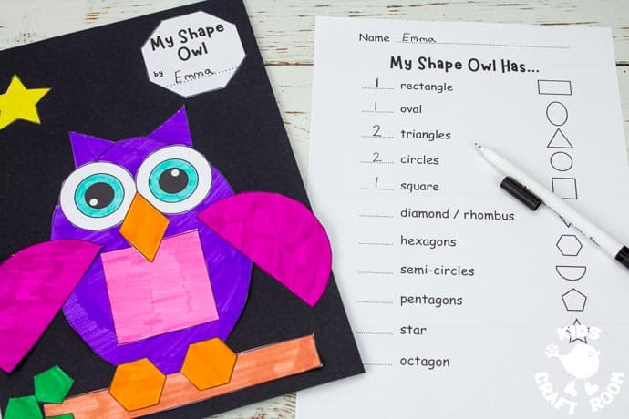 Shape Owl Craft and worksheet on table top.