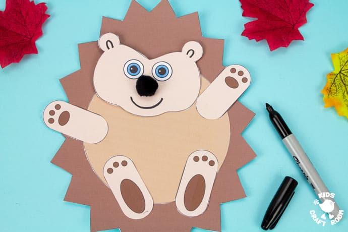 Moving Baby Hedgehog Craft step 8.