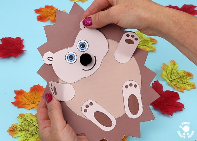 Moving Baby Hedgehog Craft step 9.