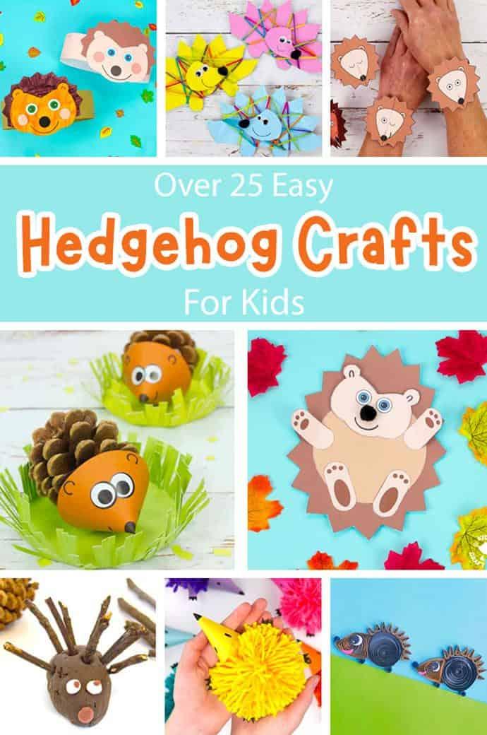 Easy Hedgehog Crafts For Kids pin image 1.