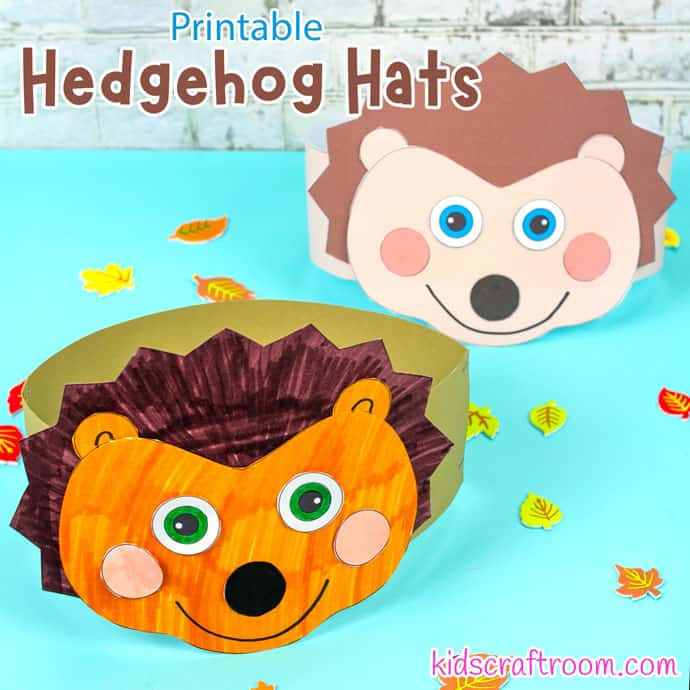 Hedgehog Hat Craft - 2 finished hats on a blue table top.
