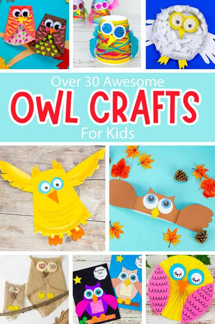 Cute Owl Craft For Kids pin collage.