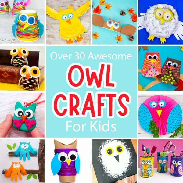 Cute Owl Craft For Kids Collage.
