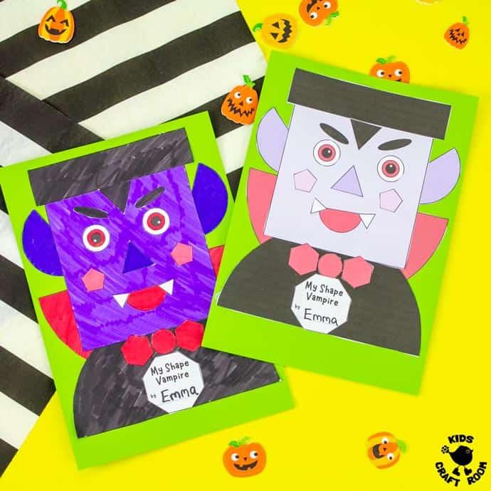 Shape Vampire Halloween Craft square image.