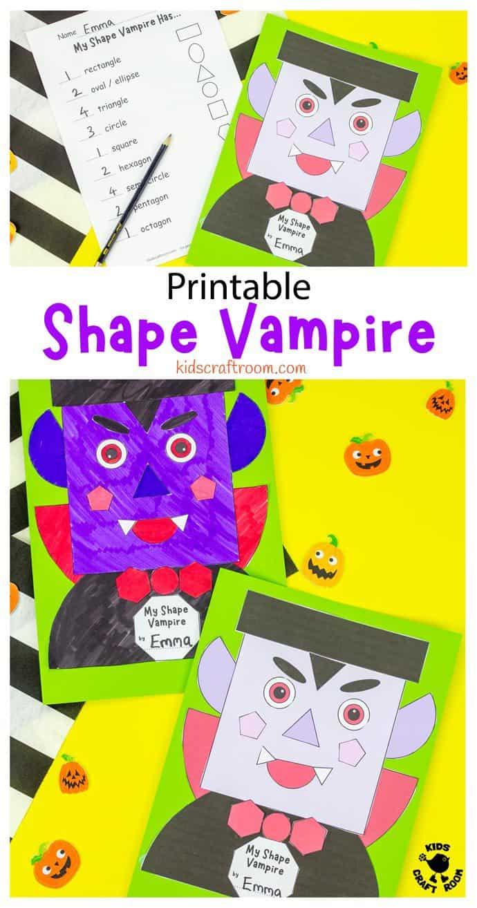 Shape Vampire Halloween Craft pin image 2.
