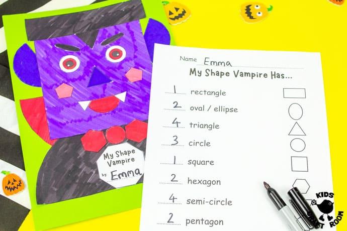 Shape Vampire Halloween Craft on a yellow desk top.