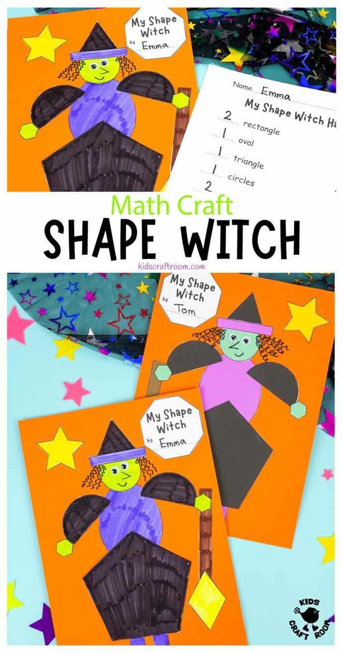 Shape Witch - Math Halloween Craft pin image 1.