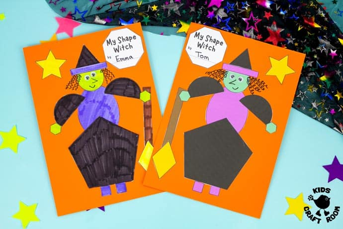 Shape Witch - Math Halloween Craft on blue table top.