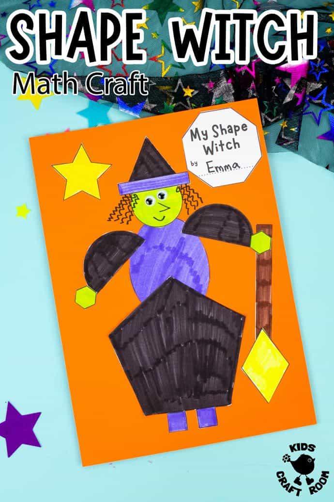 Shape Witch - Math Halloween Craft pin image 2.