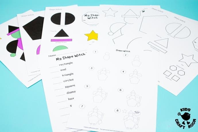 Shape Witch - Math Halloween Craft step 1.