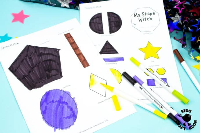 Shape Witch - Math Halloween Craft step 2.