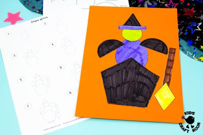 Shape Witch - Math Halloween Craft step 5.