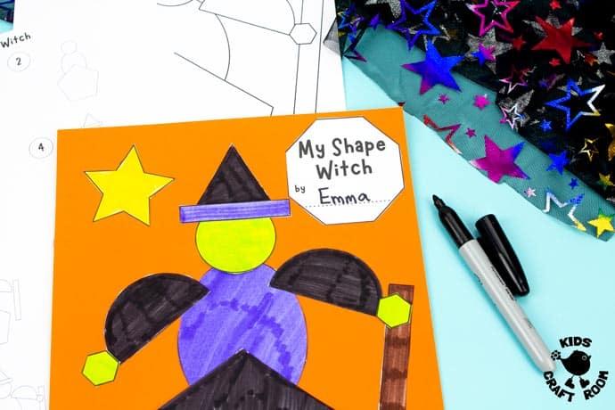 Shape Witch - Math Halloween Craft step 6.