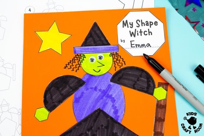 Shape Witch - Math Halloween Craft step 7.