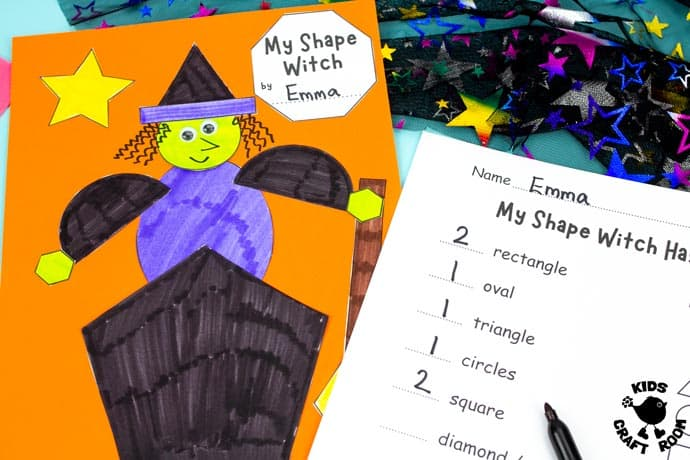 Shape Witch - Math Halloween Craft step 8.