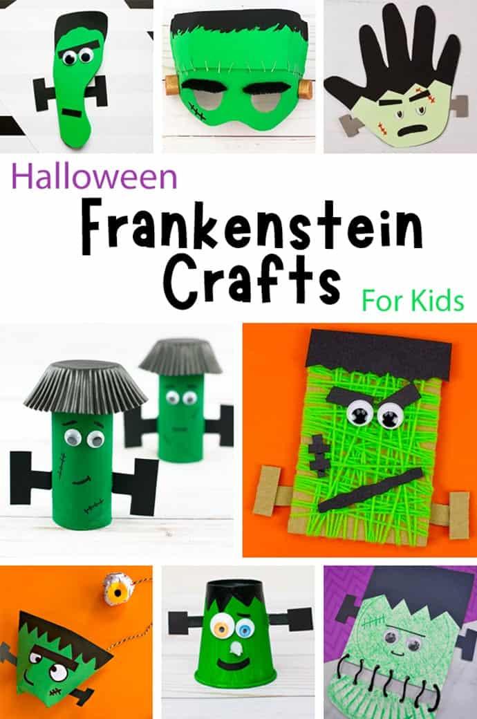 Fun Frankenstein Craft Ideas For Kids pin collage.