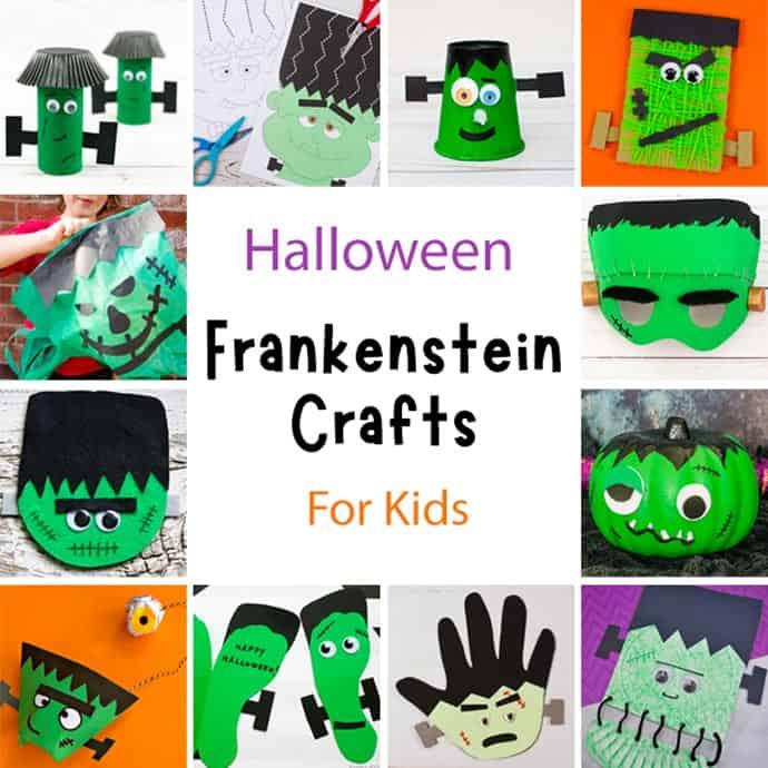 Fun Frankenstein Craft Ideas For Kids square collage.