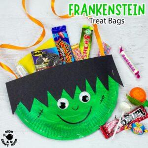 Paper Plate Frankenstein Treat Bags