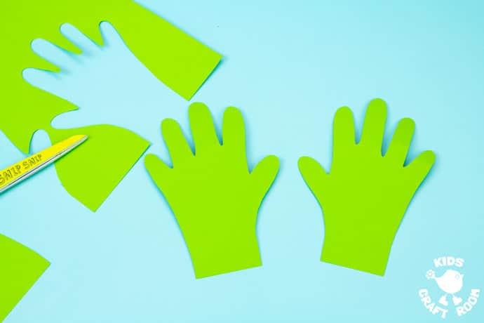 Handprint and Paper Plate Pumpkin Mask step 2.