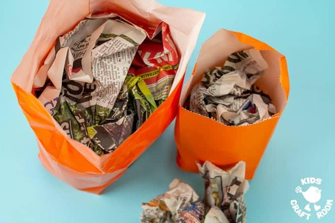 Handprint and Paper Bag Pumpkins step 1.