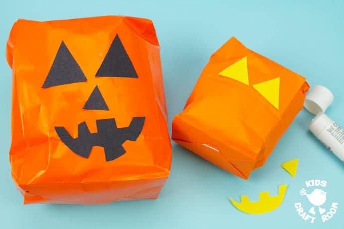 Handprint and Paper Bag Pumpkins step 3.