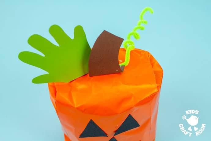 Handprint and Paper Bag Pumpkins step 6.