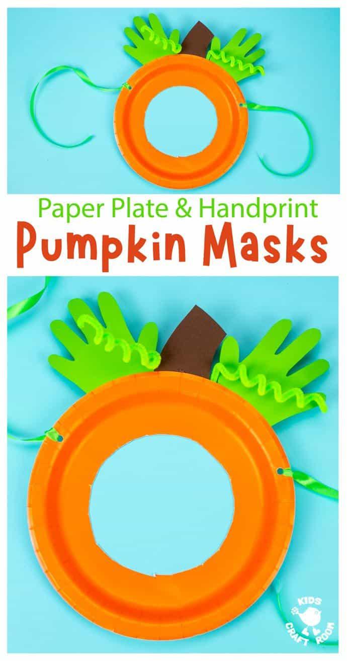Handprint and Paper Plate Pumpkin Mask pin image 1.