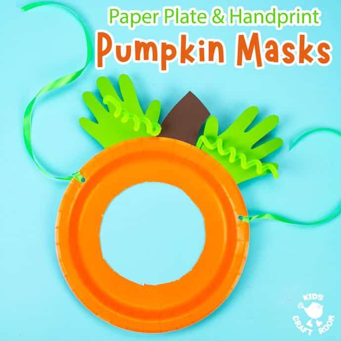 Handprint and Paper Plate Pumpkin Mask