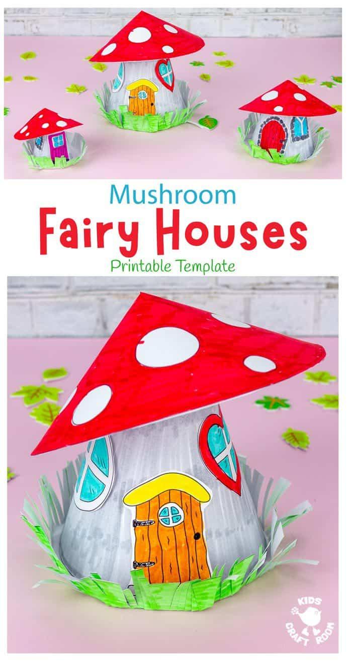 Mushroom Fairy House Craft pin image 1.