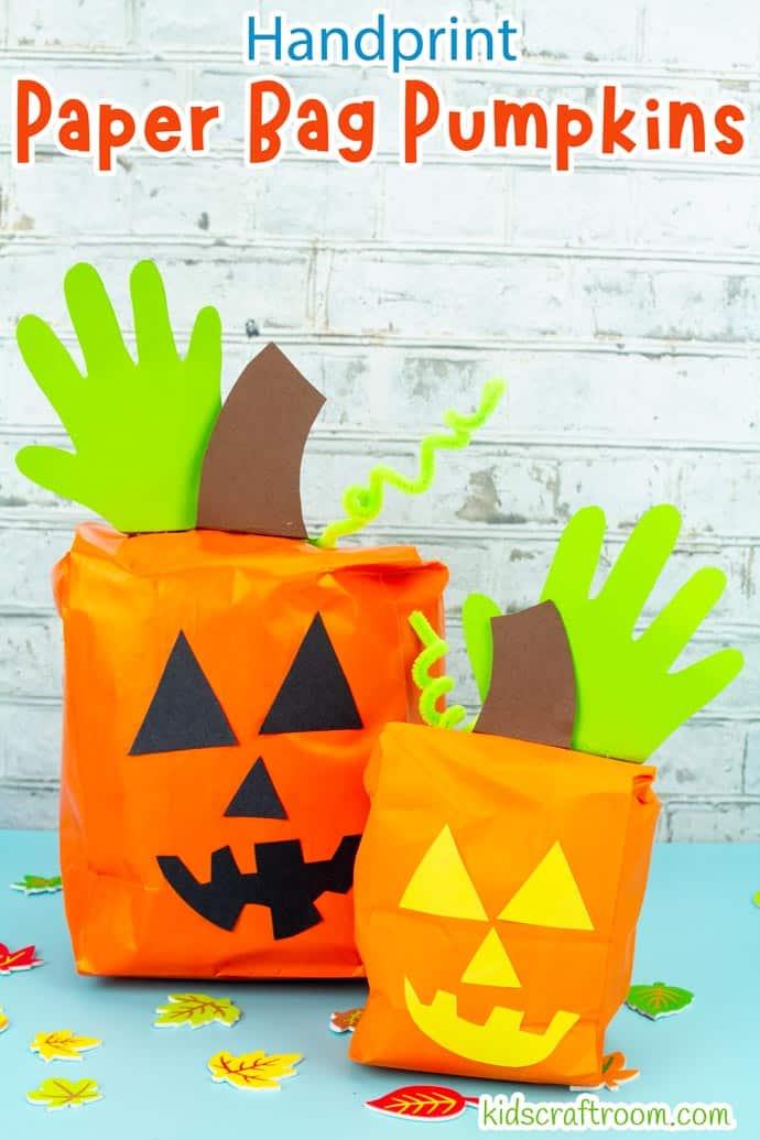 Handprint and Paper Bag Pumpkins pin image 1.