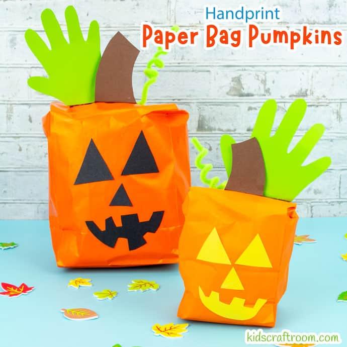 Handprint and Paper Bag Pumpkins