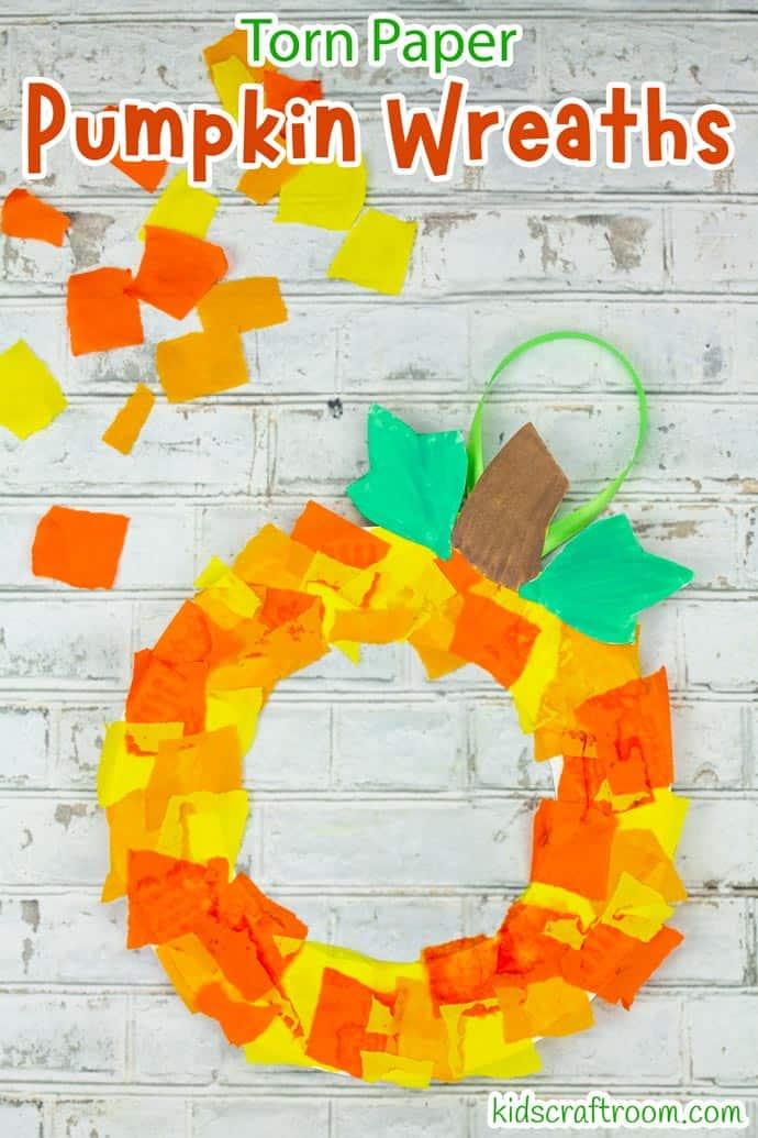 Paper Plate Pumpkin Wreath Craft pin image 1.