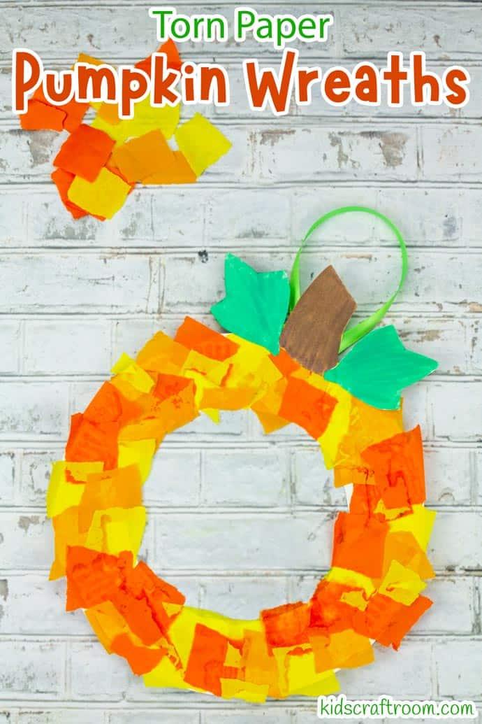 Paper Plate Pumpkin Wreath Craft step 8.