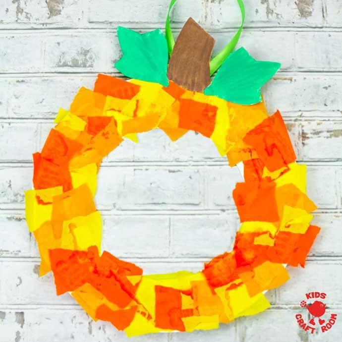 Paper Plate Pumpkin Wreath Craft square image.