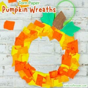 Torn Paper-Paper Plate Pumpkin Wreath Craft