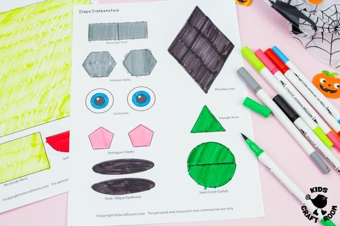 Shape Frankenstein - Math Halloween Craft step 2.