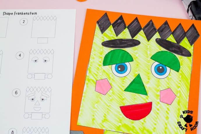 Shape Frankenstein - Math Halloween Craft step 4.