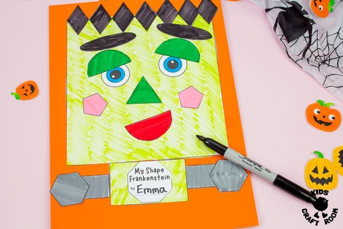 Shape Frankenstein - Math Halloween Craft step 5.