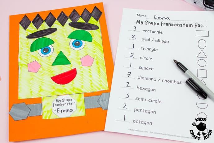 Shape Frankenstein - Math Halloween Craft step 6.